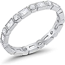 Blue Apple Co. 3mm Art Deco Full Eternity Wedding Band Baguette Round Cubic Zirconia 925 Sterling Silver Choose Color