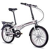 Bicicleta plegable Chrisson de 20 pulgadas, de aluminio, 7 velocidades Shimano Nexus, color blanco