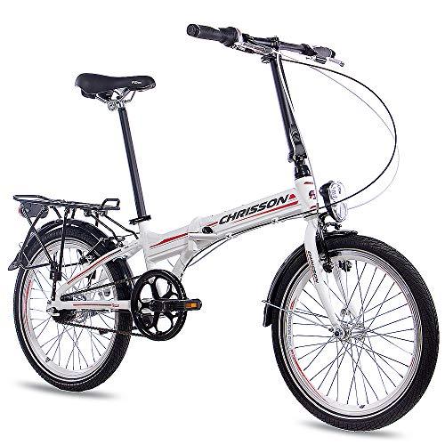CHRISSON 20 Zoll Faltrad Klapprad - Foldrider 3.0 Weiss - Faltfahrrad für Herren und Damen - 20 Zoll klappbares Fahrrad mit 7 Gang Shimano Nexus Nabenschaltung - Folding City Bike