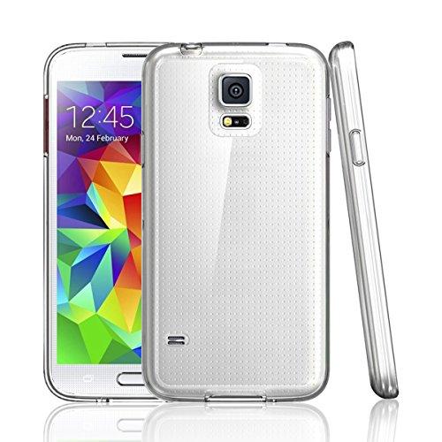 NEWC Funda para Samsung Galaxy S5, Anti- Choques y Anti- Arañazos, Silicona TPU, HD Clara