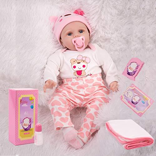 KKI Muñecas Reborn, Reborn Bebé Niña, 55 cm Muñecas de Vinilo y Silicona de Suaves, Sumpleaños de Juguete para Niños (Certificación EN71)