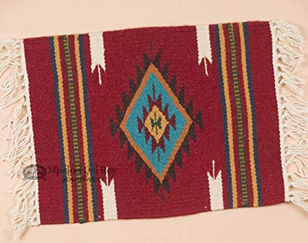 Mission Del Rey Southwestern Woven Wool Red Placemat 15x20