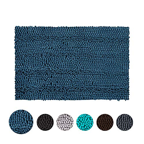 TOMORO Non-Slip Chenille Bathroom Rugs - Extra Absorbent and Soft Thick Plush Striped Microfiber Bath Mat, Machine Washable Bathroom Carpet with Non-Skid Backing, 24 x 39 Inch, Navy Blue