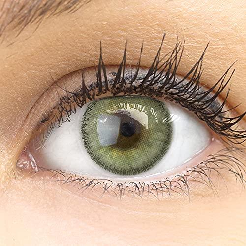 GLAMLENS lentillas de color verde + contenedor. 1 par (2 piezas) - 90 Días - Sin Graduación 0.00 dioptrías - blandos - Lentes de contacto verdes de hidrogel de silicona