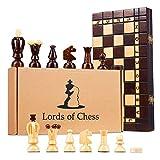 Amazinggirl ajedrez de Madera Damas - Conjunto 2 en 1 Tablero ajedrez para niños Adultos...