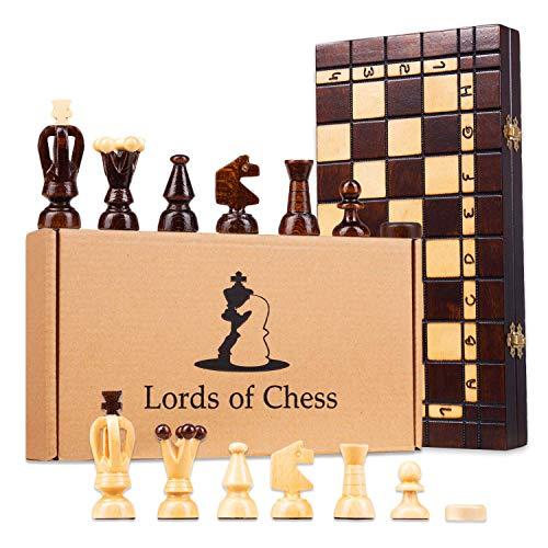 Amazinggirl Schachspiel Schach Holz Schachbrett mit Dame Spiel - 2 in 1 Chess Board Set hochwertig klappbar mit Schachfiguren groß für Kinder und Erwachsene 48 x 48 cm