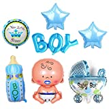 Kitchen-dream 7 Piezas Baby Helium Balloon, Baby Boy Helium Balloon, Foil Balloon Baby Shower, Baby Shower Party and Decoration