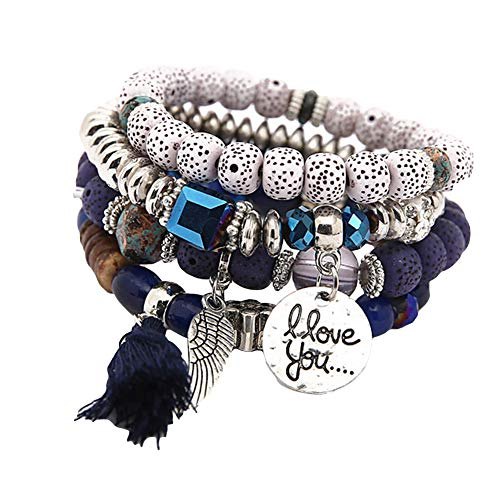 XQxiqi689sy Pulsera Bangle Bohemian Mujer Tassel Wing Disc Charm Natural Stone Peraded Multilayer Wristband Circlet azul