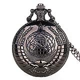 ZMKW Envío de la Gota Vintage soviético Hoz Estilo Martillo Reloj de Bolsillo de Cuarzo Collar Bronce Colgante Reloj Unisex Reloj, Negro