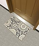 Kapaqua Rubber Backed Mat 18' x 32' Floral Swirl Medallion Grey & Ivory Doormat Accent Non-Slip Rug - Rana Collection Kitchen Dining Living Hallway Bathroom Pet Entry Rugs RAN2033-12