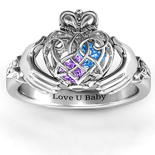 Personalized Rings for Women Claddagh Ring Customized Caged Hearts Crown Ring Promise Rings for Her Friendship Birthstone Rings Engagement Ring Engraved Ring Gift for Mother Day/Wife/Girl Silver