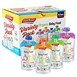 First Choice 16-Pack Organic Baby Food Pouches Stage 2 & Up, 4 Ounce Fruit and Veggie Pureed Baby Food Pouch Variety Pack, Best Baby Puree Toddler Meals Apple, Bananas, Oatmeal, Peach, Sweet Potatoes