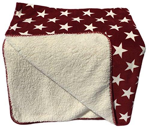 Classic Textiles Of Sweden - Manta Aspen de 70 x 100 cm, muy mullida, extragruesa, perfecta como manta para gatear y para el cochecito (estrellas rojas y blancas).