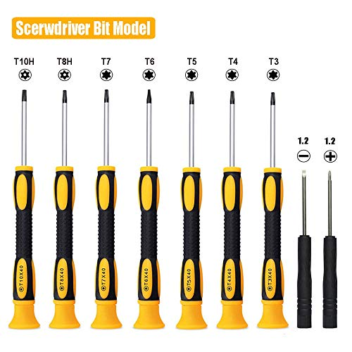 15 in 1 Torx Screwdriver Set with T3 T4 T5 T6 T8 T10 Security Torx screwdriver and ESD tweezers, Magnetic Screwdrivers Precision Repair Kit for Xbox, iPhone, PS4, Macbook, Watch, Electronics