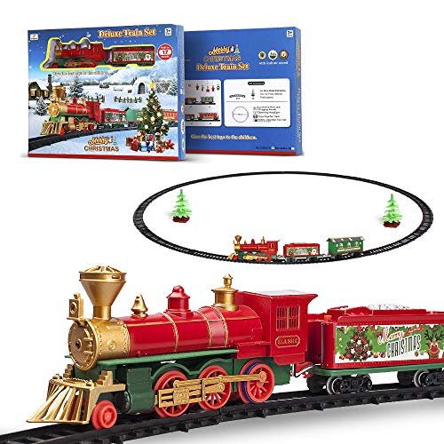 FENFA Christmas Train Set Toys with Light and Sound for Under Christmas Tree Battery Operated Classic Train with Round Shape Tracks for Kids Boys and Girls 1600A-7C