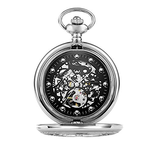 QZH Reloj de Bolsillo para Hombre Reloj de Bolsillo con Forma de Concha Grabado Hueco Retro Reloj de Bolsillo mecánico para Hombre Oro Plateado Mecánico clásico de Cara Lisa (Plateado,