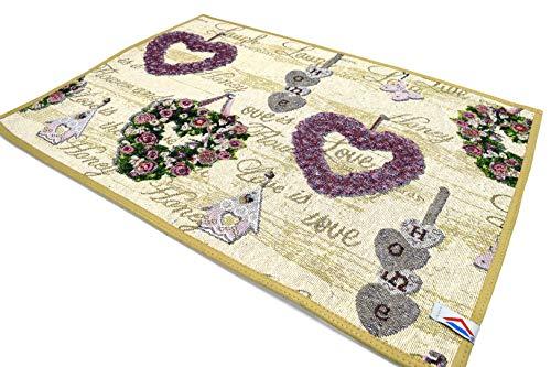 Fiorenza Tappeto decorato, Passatoia 50cm per Cucina e Bagno, Lavabile, Antiscivolo, con bordo in cotone (Heart Beige, 50x70cm)