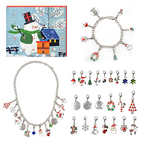 AleapDoll Advent Calendar 2020 Christmas Countdown Calendar - Christmas Charm Bracelet Necklace Making Kit for Girls, Inspirational Jewelry Gift Set Including 22 Charms Beads, Bracelet & Necklace