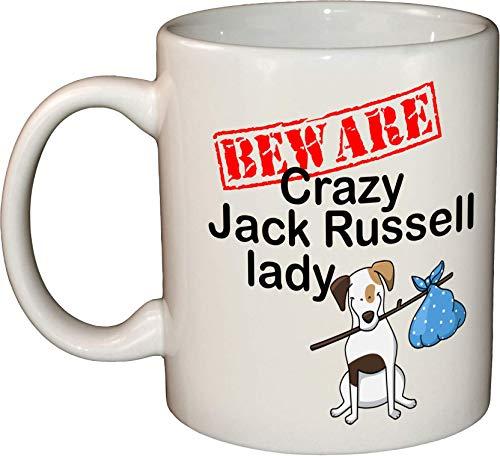 Beware Crazy Jack Russell Lady - Taza de cerámica para lavavajillas y microondas (325 ml)