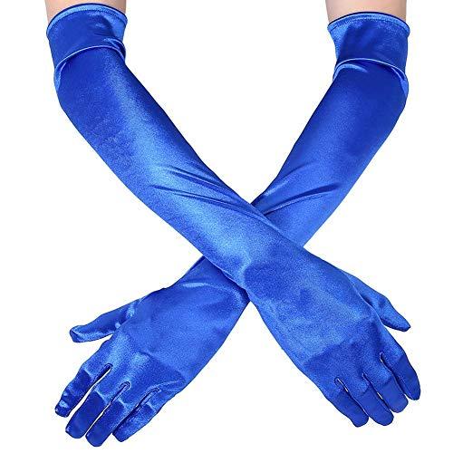 Guante largo negro blanco Guantes de Satén Mujer Vintage Guantes hasta los Codos Novia Accesorios Guantes Largos para Boda Fiesta Accesorios (52cm-azul)