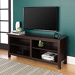 """Dimensions: 23.375"""" H x 15.75"""" D x 58"""" L, Open storage cubby: 15.75"""" H x 14"""" D x 25.25"""" L Top surface supports up to 150 Ibs. and 2 adjustable shelves support up to 30 Ibs. each Supports TVs up to 65 Ibs. 4 cord management ports keep cables tidy Ship..."""