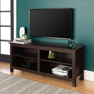 """WE Furniture Minimal Farmhouse Wood Universal Stand for TV's up to 64"""" Flat Screen Living Room Storage Shelves Entertainment Center, 58 Inch, Espresso"""
