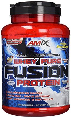 Amix - Proteína Whey Pure Fusion, Ayuda a Tonificar y Aumentar la Masa Muscular, Rica en BCCAs y Glutamina, Fácil Digestión, Baja en Grasas, Proteína en Polvo, 1 Kg, Frutas Del Bosque