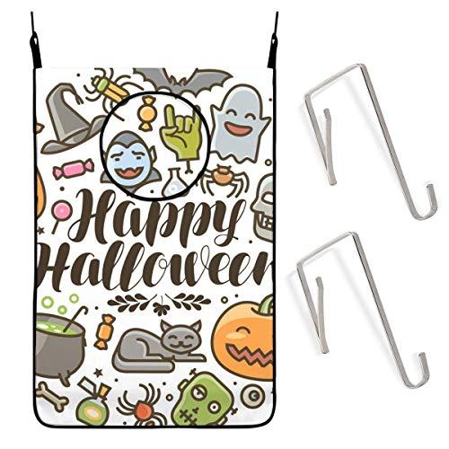 ZCHW Feliz Halloween Tarjeta de felicitación o Pancarta Bolsa de cesto de lavandería Colgante de Vacaciones Bolsa de Ropa Sucia Recipiente de Almacenamiento Cesta de lavandería Bolsa de lavandería