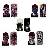5 Piezas Diadema Bandanas Tubo Multifuncional Headwear Neck Gaiter Head Wrap Magic Head Scarf Sweatband For Fishing,B