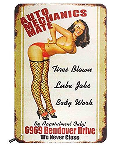 Swono Auto Mechanics Mate Tin Signs, Bikini Roze Up Smile We Nooit sluiten Vintage Metalen Tin Teken voor Mannen Vrouwen, Wanddecoratie voor Bars, Restaurants,Cafes Pubs,12x8 Inch
