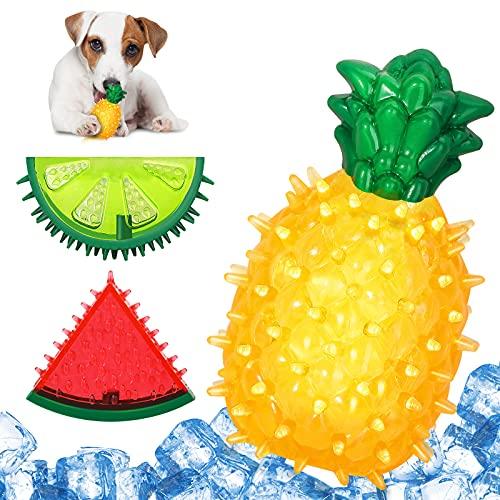 Lewondr 3PZS Juguete Mordedor para Perros, Juguete Masticador de Congelación para Limpieza Dental con Forma de Sandía Limón y Piña, con Sonido Chirriado para Perros Pequeños y Medianos en Verano