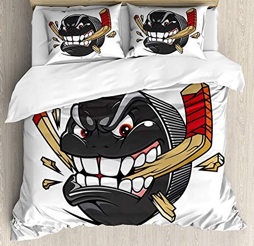 YnimioHOB Hockey Bettwäscheset, Hockey Puck Bites und Breaks Hockeyschläger Meisterschaftsspiel Maskottchenfigur, Dekoratives 3-teiliges Bettwäscheset mit 2 Kissenbezügen, Anthrazit