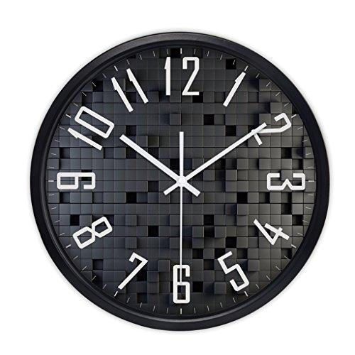 ZhuFengshop Wandklok Wandklok van metaal voor heren met ronde persoonlijkheid stil horloge van glas met digitale klok - zwart/zilver/wit - Cuc