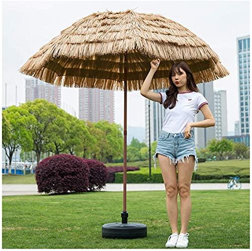 PFTHDE Ombrellone da Spiaggia in Paglia con Base per Serbatoio d Acqua, ombrellone in Rafia con Funzione di inclinazione, ombrellone in Paglia da Esterno per Patio Piscina Giardino, B