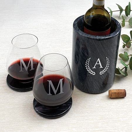 Our shop OFFers the best service Lillian Vernon Wreath OFFer Monogrammed Black Chiller Marble Larg Wine