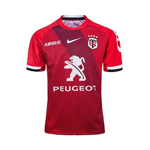 LQLD 2019-20 Toulouse Rugby Jersey, Männer Rugby-Fan-Hemden Polyester, schnelltrocknende T-Shirt atmungsaktiv Short Sleeve Rugby Supporters T-Shirt,Rot,XXL
