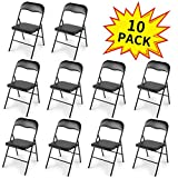 JAXPETY New 10PK Commercial White Plastic Folding Chairs Stack-able Wedding Party Chair w/Soft Cushion (Black)