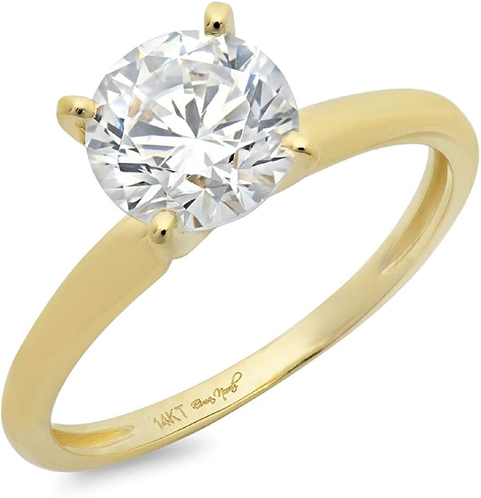 Clara Pucci Round Cut 4-Prong Solitaire Anniversary Promise Bridal Engagement Wedding Ring 14k Yellow Gold, 1.85CT
