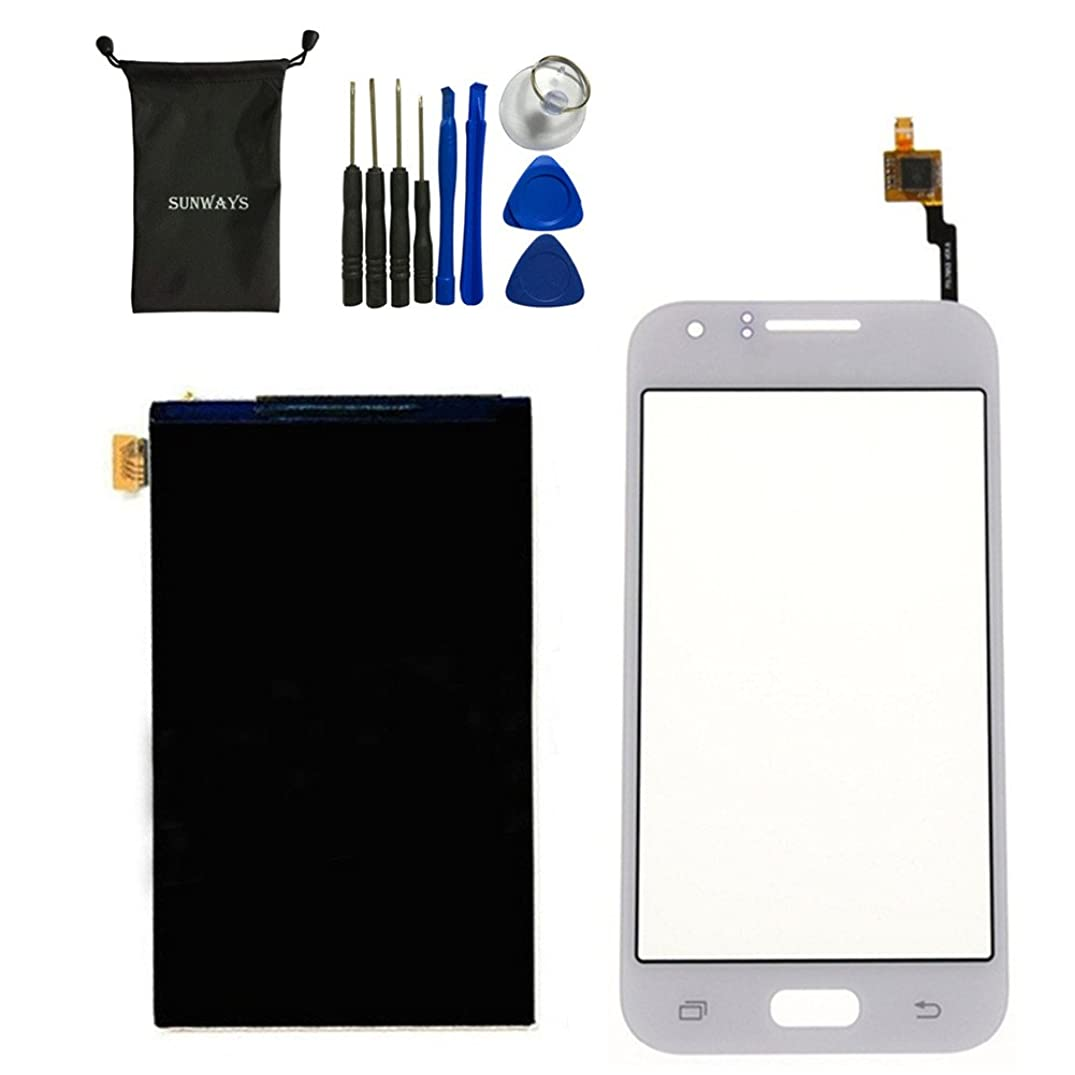 sunways Touch Digitizer Glass Lens Screen Replacement + LCD Display Digitizer Screen for Samsung Galaxy J1 J100(White) with Device Opening Tools