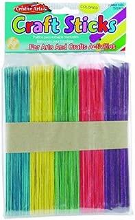Creative Arts by Charles Leonard Craft Sticks, Jumbo Size, Assorted Colors, 6 x 3/4 Inch, 75/Bag (66585)