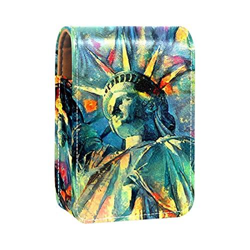 Lippenstift-Etui, Kosmetiktasche, Kosmetik-Organizer, Reise-Make-up-Tasche, Lippenstift-Halter mit Spiegel für Geldbörse, Melopsittacus Wellensittich, Farbe05, 9.5x2x7 cm/3.7x0.8x2.7 in,