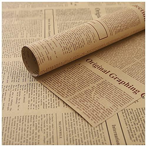 RoxNvm Papel de regalo, Papel de Envolver para Regalo, 20 hojas de papel de envolver de periódico vintage, papel de regalo de flores, papel de envolver reciclable para floristería, embalaje de regalo