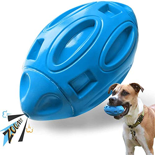 jinyi Squeaky Dog Toys, Durable Rubber Dog Squeak Toy for Aggressive Chewers, Almost Indestructible Interactive Dog Chew Ball Toys, Tough Pet Toy for Medium and Large Breed LightBlue
