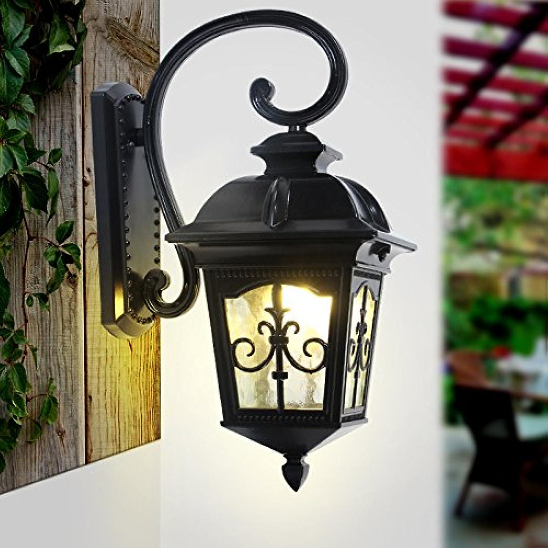 StiefelU LED Auen-Wandleuchten wasserdicht Villa retro Auen-LED-Leuchten Strae Flur ist ein Balkon, Schwarz, hohe-53cm Breite 32 cm Lampe Lnge der Seite 23  23 cm Wandplatte Hhe 30 cm Breite 14 cm