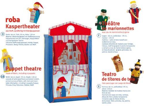 roba Kasperletheater, Puppentheater inkl, 6 Handpuppen, Kaspertheater aus Massivholz, freistehend mit Stoffbespannung - 2