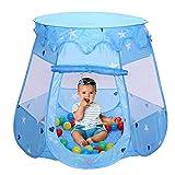 Hengda Spielzelt Spielhaus mit 100 Bälle Kinderzelt Blau Bällchenpool Kinder Pool für Drinnen...