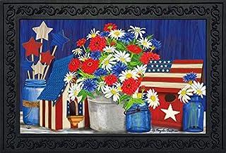 "Briarwood Lane Red White and Blue Patriotic Doormat Indoor Outdoor 18"" x 30"""