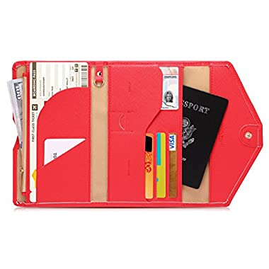 Zoppen Mulit-purpose Rfid Blocking Travel Passport Wallet (Ver.4) Trifold Document Organizer Holder, Raspberry Red