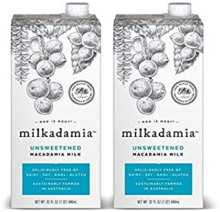 Milkadamia Unsweetened Macadamia Milk (32 oz., 2 Count) - Keto, Dairy Free, Vegan, Sugar Free
