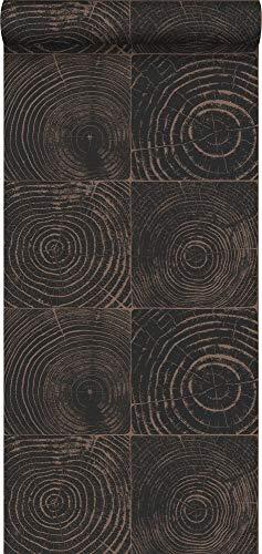 behang dwarsdoorsnede boomstam mat zwart en glanzend brons - 347550 - van Origin - luxury wallcoverings